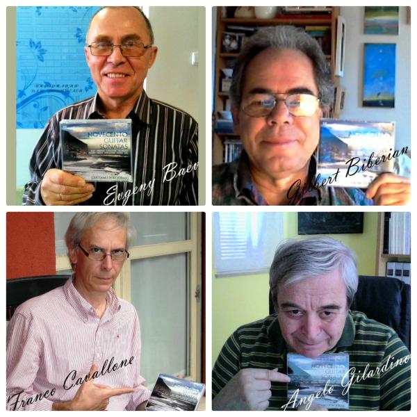 "Evgeny Baev, Gibert Biberian, Franco Cavallone und Angelo Gilardino mit den ""Novecento Guitar Sonatas"" von Cristiano Porqueddu"